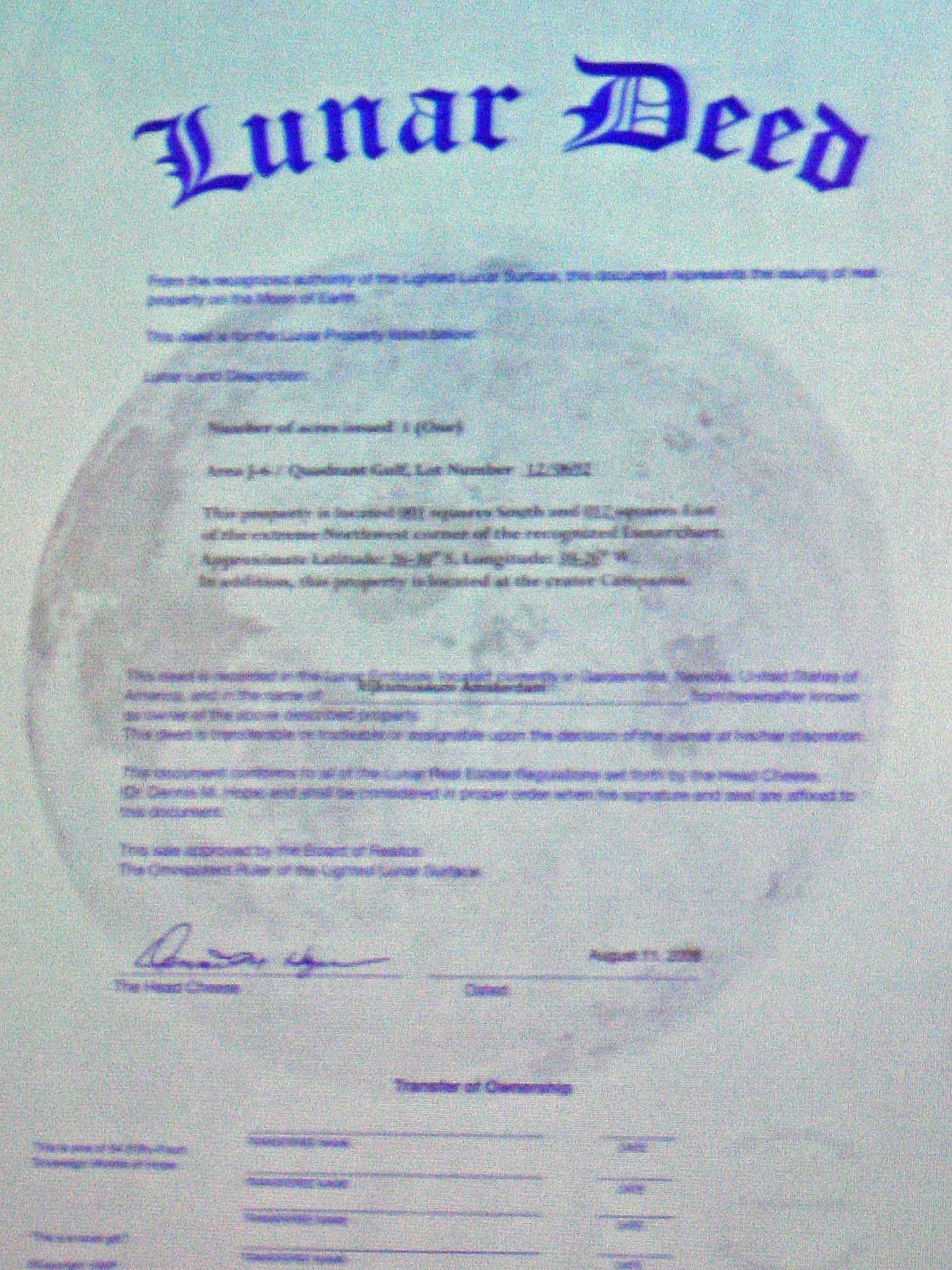 lunar deed